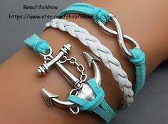 Anchor Bracelet Infinity Bracelet Blue Wax Cord by BeautifulShow, $3.99