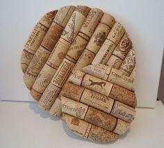 Upcycled Round Wine Cork Trivet Herringbone by TheGoodWineArtist