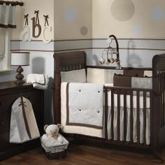 Lambs & Ivy  Park Avenue Baby Bedding Collection. This upscale designer collection in high fashion colors of silver mist, chocolate and cream will welcome baby home in style.