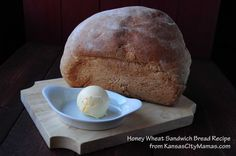 WheatBread-Logo  I cut the recipe in half, added a T of Water and a T of vital wheat gluten and allowed the bread to bake in the bread maker