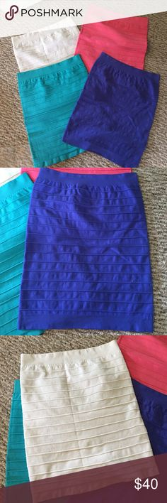 4 skirts bundle deal!! 4 skirts bundle deal! Must buy all 4. Originally 50 dollars each. Bebe high waisted stretchy mini skirts in colors pink, teal, electric blue, and white bebe Skirts Mini
