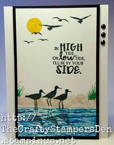Easy card created with Stampin' Up! High Tide stamp set.  (Inspired by The Pampered Stamper)