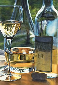 White Wine Still Life by Cindy Agan Watercolor ~
