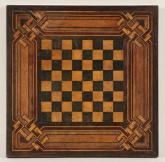 Folk art hand made parquetry game board