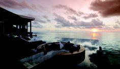 Jumeirah Dhevanafushi Resort, Maldives - Johara Restaurant Pool Sunset View