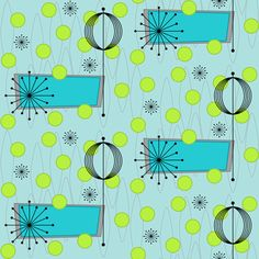 Vicissitude (lime/aqua) by gammagammahey. For sale via Spoonflower - fabric, wallpaper, & gift wrap. Three different colors to choose from! Retro Pattern, Pattern Art, Pattern Design, Print Patterns, Paisley Pattern, Design Design, Aqua Fabric, Retro Fabric, Vintage Fabrics