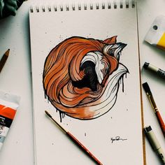 Red fox art by Loving Dad Creates One Animal Alphabet Letter A Day To Teach His Son The Alphabet - F for Fox Animal Sketches, Animal Drawings, Art Drawings, Animal Alphabet, Cool Sketches, Drawing Sketches, Art Fox, Fox Tattoo, Desenho Tattoo