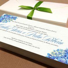 Proposta de convite com hortênsias para Carolina e José Pedro.  Invitation proposal with hydrangeas for Carolina and José Pedro's wedding.  #beapaper #convitecasamento #weddinginvitation