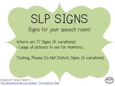 Signs For Your Speech Room