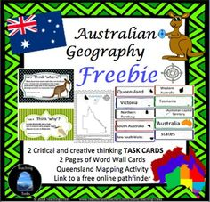 Australia is the land down under! Australia is also a land of great contrasts. Australian Geography is comprised of 24 Thinking Trek task cards, 14 Australia mapping activities, 80 Australia word cards and 3 printable posters. Geography Activities, Fun Classroom Activities, Teaching Geography, World Geography, Color Activities, Classroom Ideas, Australia School, Australia Map, Posters Australia