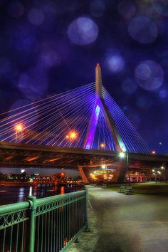 Zakim Bridge At Night - #Boston Art by Joann Vitali https://fineartamerica.com/featured/zakim-bridge-at-night-boston-joann-vitali.html #ZakimBridge #interiorDesign Boston Attitude #bridges