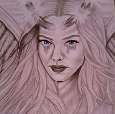 Graphite drawing with just a little color in her eyes. FALLEN ANEGEL.