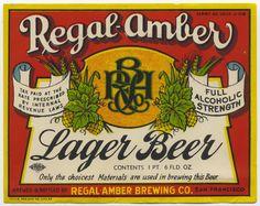 Regal Amber vintage Beer label