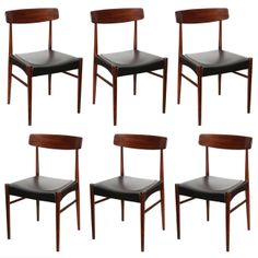 Fredrik Kayser Rosewood Black Vinyl Dining Chairs   From a unique collection of antique and modern dining room chairs at http://www.1stdibs.com/furniture/seating/dining-room-chairs/