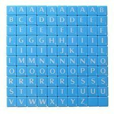 New Plastic Scrabble Tiles Letters Blue Plastic & White Letter - 100 Set of Game Pieces Art & Craft Vintage - A full set of replacement tiles consists of: A x 9, B x 2, C x 2, D x 4, E x 12, F x 2, G x 3 H x 2, I x 9, J x 1, K x 1, L x 4, M x 2, N x 6 O x 2, P x 2, Q x1, R x 6, S x 4, T x 6, U x 4 V x 2, W x 2, X x 1, Y x 2, Z x 1 and BLANK x 2. Pack of 100 X New Plastic Scrabble Tiles Letters Blue Plastic & White Letter - 100 Set of Game Pieces Art & Craft Vi