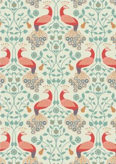 Lewis & Irene - Chieveley - Peacock & Pear On Cotton Inspired by the opulence of a grand country house. This sumptuous collection has metallic elements in copper and gold. Floral Drawing, Illustrations, Surface Pattern Design, Repeating Patterns, Textile Prints, Beautiful Patterns, Pattern Wallpaper, Fabric Design, Textile Design