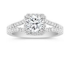Halo Diamond Engagement Ring with Pave Setting -- Shane Co - $1295