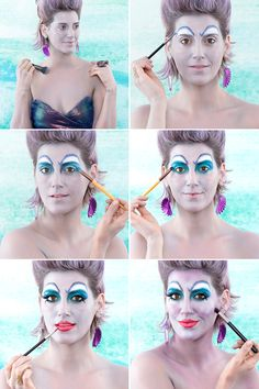 Become the Most Evil Sea Sorceress With This DIY Ursula Costume DIY Halloween Ursula Costume Makeup Halloween Costume Ursula, Sea Witch Costume, Fete Halloween, Family Halloween Costumes, Halloween Cosplay, Disney Halloween Makeup, Couple Costumes, Couple Halloween, Halloween 2019