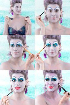 Become the Most Evil Sea Sorceress With This DIY Ursula Costume DIY Halloween Ursula Costume Makeup Costume Halloween, Ursula Costume Diy, Sea Witch Costume, Halloween Kostüm, Disney Halloween Makeup, Frozen Costume, Couple Halloween, Disney Cosplay, Disney Villain Costumes