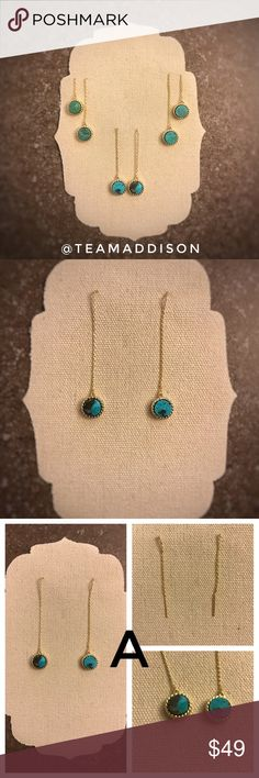 """Gold Dipped Natural Turquoise Threader Earrings 🎀 Price FIRM unless bundled 📦 Same Day Shipping {during P.O. hours}  Gorgeous lux gold dipped natural turquoise threader earrings. Hand crafted making each pair unique. Choose the length of your earrings by adjusting the threader chain once inserted into your pierced ear hole. Approximate total length: 4.25"""" Long. Metal: Lead free gold dipped threader earrings. These beauties will come carefully wrapped and gift ready. Price is for 1 pair…"""