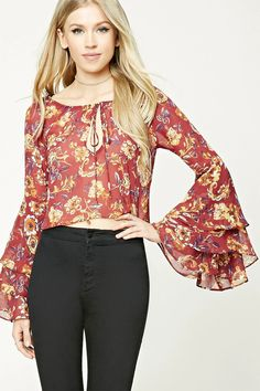 A semi-sheer woven top featuring an off-the-shoulder design, allover floral print, self-tie front with keyhole cutout, and long tiered bell sleeves.