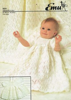 christening dress and shawl  vintage knitting pattern  4 ply wool  16 - 18 inch chest size  shawl measures 48 square  PDF Instant download