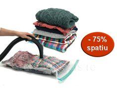 Acum iti poti proteja si depozita hainele in cel mai eficient si util mod! Doar 22 Lei in loc de 64 Lei pentru 4 saci vid!