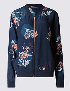 Buy the Floral Bomber Jacket from Marks and Spencer's range. Floral Bomber Jacket, Printed Bomber Jacket, Print Jacket, Festival Outfits, Festival Fashion, Adidas Jacket, Women Wear, Loose Fit, Shopping