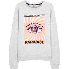 KENZO Paradise Eye printed cotton sweatshirt ($235) ❤ liked on Polyvore featuring tops, hoodies, sweatshirts, white cotton tops, white cotton sweatshirt, kenzo, kenzo top and cotton sweatshirts