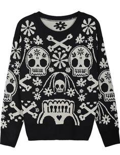 Black Long Sleeve Skull Pattern Loose Sweater US$33.61