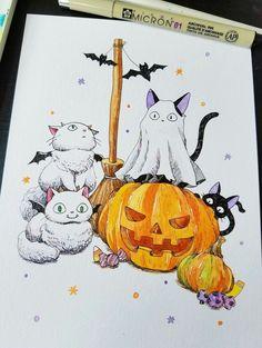 Desenhos Halloween, Baby Animal Drawings, Cute Monsters, Autumn Art, Cultura Pop, Halloween Crafts, Family Halloween, Drawing Poses, Cat Art