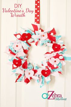 DIY-Wreath- http://atozebracelebrations.com/2013/02/valentines-day-wreath.html