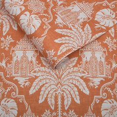 Imperial by Graham & Brown - Orange - Wallpaper : Wallpaper Direct Coastal Wallpaper, Orange Wallpaper, Ocean Wallpaper, Brown Wallpaper, Chinoiserie Wallpaper, Damask Wallpaper, Wall Wallpaper, Designer Wallpaper, Bathroom Wallpaper Orange