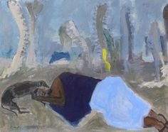 """""""Sleeping In The Desert/ Two Blue Blankets"""" Oil on Book Board Mounted on Panel 16x20 inches    Gigi Mills 