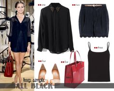 Olivia Palermo with total black and red touch | http://getthelookoliviapalermo.blogspot.com.es/2013/07/olivia-palermo-with-total-black-and-red.html