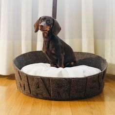 Small medium dog bed Modern most popular dog bed Customizable with name Washable durable Dark brown by NapsDesign on Etsy https://www.etsy.com/listing/227800964/small-medium-dog-bed-modern-most-popular