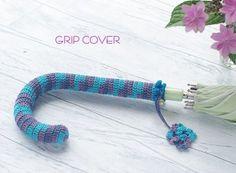【傘の柄のカバーの編み方】ダイソーの新色ミックス糸を使って♪ - 白い手帖
