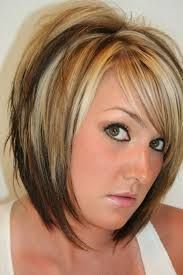 short diagonal forward haircuts blonde with dark - Google Search