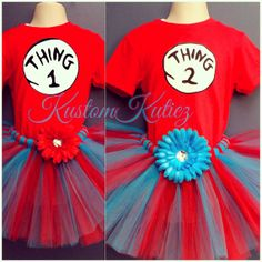 Thing 1 and thing 2 tutu sets Birthday outfit for by KustomKutiez, $12.50