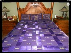 Crown Royal Quilt with Satin And with matching Pillow Shams Crown Royal Quilt, Crown Royal Bags, Royal Crowns, Purple Satin, Queen Size Bedding, The Crown, Pattern Blocks, Bed Pillows, Pillow Shams