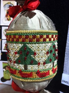 Needlepoint Christmas ornament by KreinikGirl, via Flickr. Canvas design by Melissa Shirley Designs.
