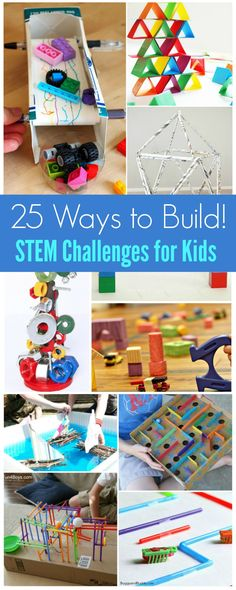 25 Awesome STEM Challenges for Kids (with Inexpensive or Recycled Materials!) - Frugal Fun For Boys and Girls Engineering Projects, Stem Projects, Science Projects, Projects For Kids, Engineering Challenges, Steam Activities, Science Activities, Educational Activities, Activities For Kids