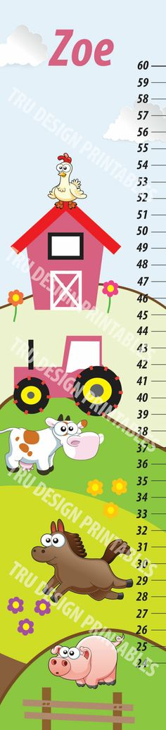 Items similar to Farm Theme Kids Growth Chart on Etsy Farm Theme, Flag Banners, Creative Design, All Things, Wedding Invitations, My Etsy Shop, Chart, Digital, Prints