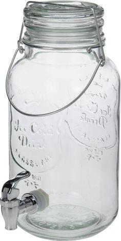 Glazen waterkan met tapje (4 liter)