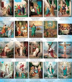 Mysteries of the Holy Rosary - Five Joyful Mysteries; Five Sorrowful Mysteries; Five Glorious Mysteries; Five Luminous Mysteries.