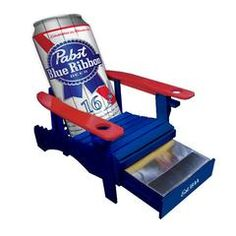 This Pabst Blue Ribbon Wooden Adirondack chair painted in Pabst red, white and blue. We all know that getting up for a beer can be quite difficult sometimes ...
