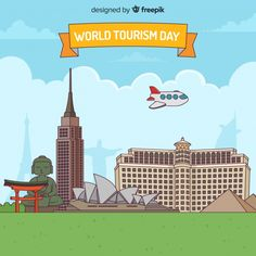 World tourism day background with monume. Tourism Day, Travel Design, Flat Design, Vector Free, Label, World, Travel, The World, Apartment Design