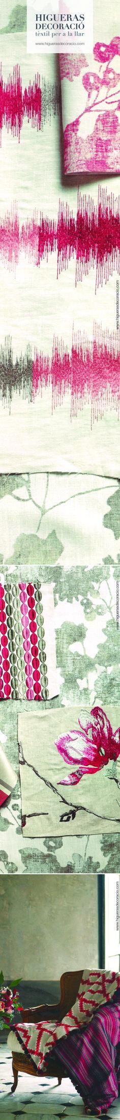 Lino natural estampado y con textura. Tejidos envejecidos para estancias donde el diseño vanguardista y la arquitectura clásica conviven con elegancia. www.higuerasdecoracio.com