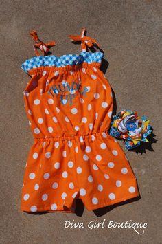 Okc Thunder romper, also remember thunder fabric skirt with orange pom pom trim