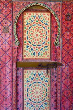 Pink Painted Door, Dar Mokri, Fes, Morocco. Photo by Julie Hall.